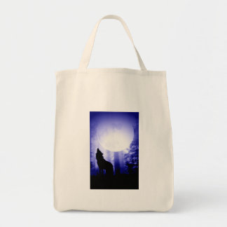 Lonely Wolf Howling at Moon Tote Bag