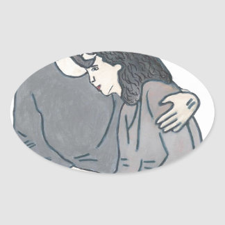 Lonely woman meets God Oval Sticker