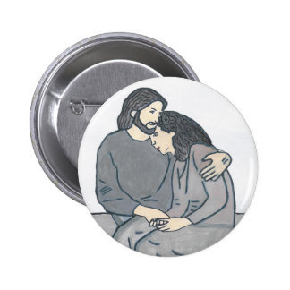 Lonely woman meets God Pinback Button