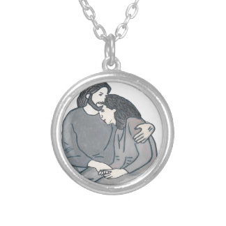 Lonely woman meets God Round Pendant Necklace
