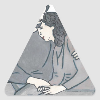 Lonely woman meets God Triangle Sticker