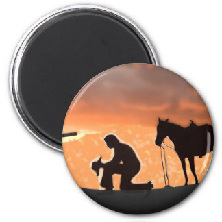 Lonesome Cowboy 2 Inch Round Magnet