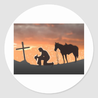 Lonesome Cowboy Classic Round Sticker
