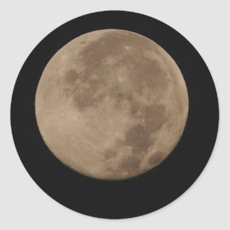 Lonesome - full moon in an dark sky classic round sticker