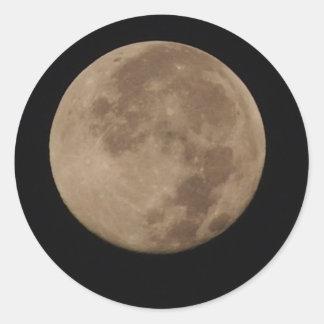 Lonesome - full moon in an dark sky round sticker