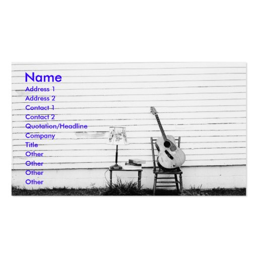 Lonesome guitar music business card template zazzle for Music business card template
