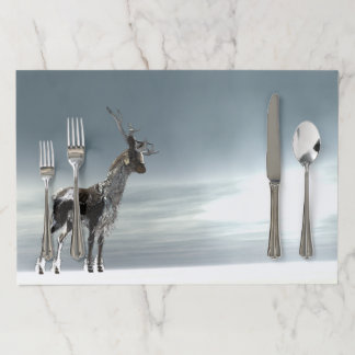 lonesome reindeer paper placemat