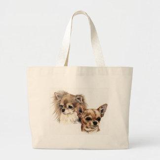 Long and smooth coat chihuahuas large tote bag