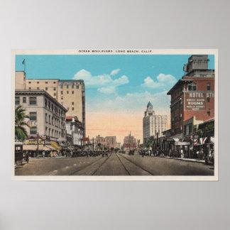 Long Beach, CA - Ocean Boulevard View Poster