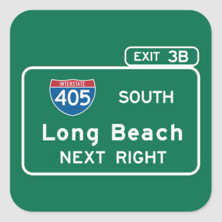 Long Beach, CA Road Sign Square Sticker