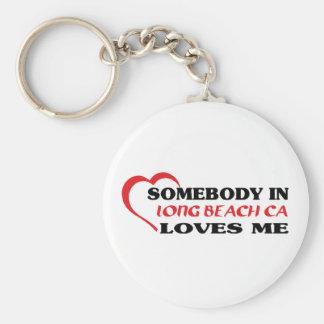 LONG BEACH CAaSomebody in Long Beach loves me t sh Basic Round Button Keychain