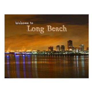 Long Beach California At Night Post Card
