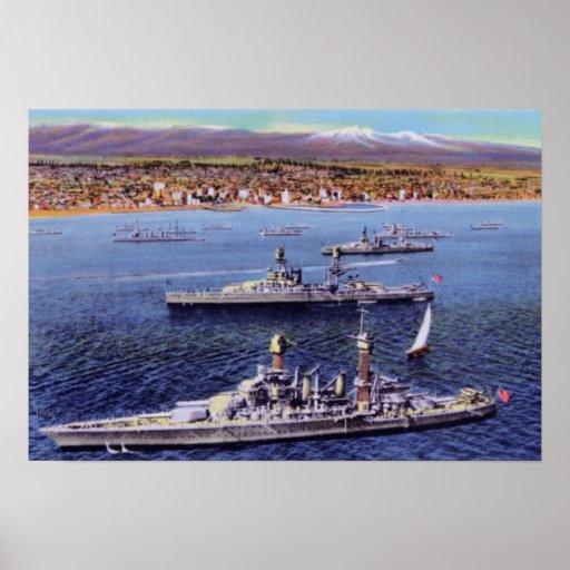 Long Beach California Battle Ships along Coast Poster