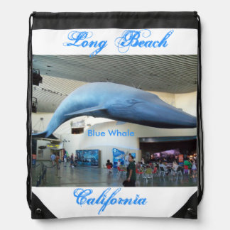 Long Beach, California Blue Whale Drawstring Backpack