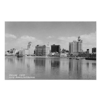 Long Beach, California City Skyline View Poster