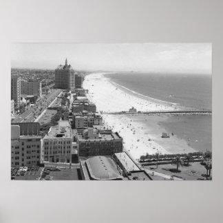 Long Beach, California Coastline and Beach Poster