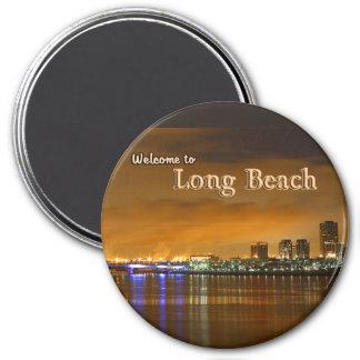 Long Beach California en la noche Imán Redondo 7 Cm