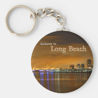 Long Beach California en la noche Llavero Redondo Tipo Pin
