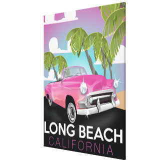 Long Beach California vintage travel poster Stretched Canvas Prints