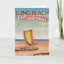Long Beach California vintage travel poster Holiday Card