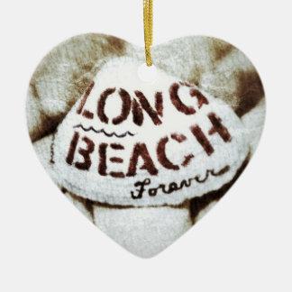 Long Beach Forever. Double-Sided Heart Ceramic Christmas Ornament