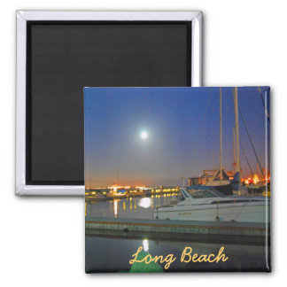 Long Beach Harbor At Night 2 Inch Square Magnet