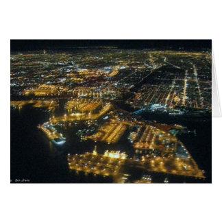 Long Beach Harbor at Night Card