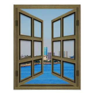 Long Beach Harbor View - 6 Pane Open Window Poster