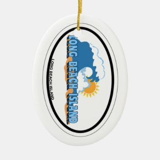 Long Beach Island. Double-Sided Oval Ceramic Christmas Ornament