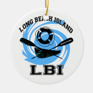 Long Beach Island Double-Sided Ceramic Round Christmas Ornament