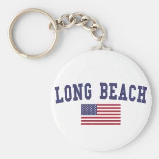 Long Beach NY US Flag Basic Round Button Keychain