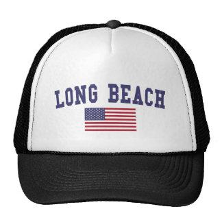Long Beach NY US Flag Trucker Hat