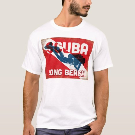 Long Beach Scuba Diver - Blue Retro T-Shirt