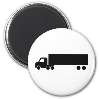 long black truck icon 2 inch round magnet