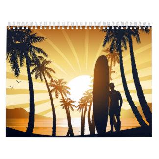 Long board at sunrise calendar