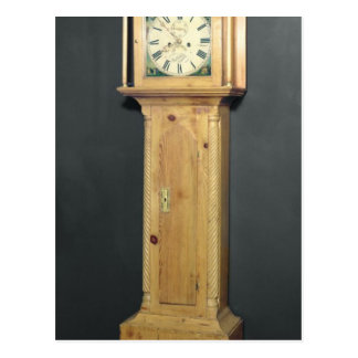 Long-case clock, with enamel painting postcard