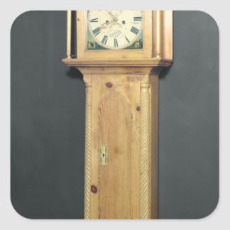 Long-case clock, with enamel painting square sticker