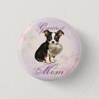 Long Coat Chihuahua Heart Mom Button