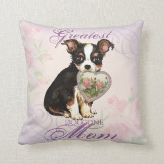 Long Coat Chihuahua Heart Mom Throw Pillow