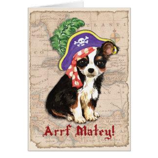 Long Coat Chihuahua Pirate Greeting Card