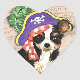 Long Coat Chihuahua Pirate Heart Sticker