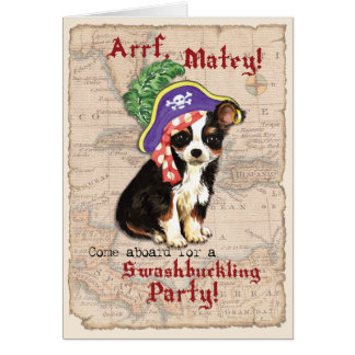 Long Coat Chihuahua Pirate Stationery Note Card