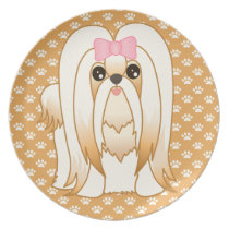 Long Coat Shih Tzu Puppy Dog Cartoon Animal Melamine Plate