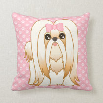 Long Coat Shih Tzu Puppy Dog Cartoon Animal Throw Pillow