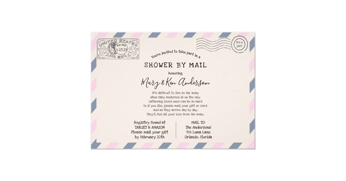 Long Distance Baby Shower by Mail Invitation   Zazzle.com