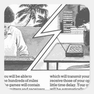 Long Distance Game - Vintage Magazine Article Square Sticker