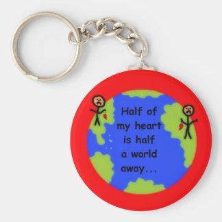 Long Distance Love Basic Round Button Keychain