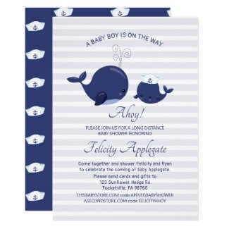 Long Distance Nautical Baby Shower Invitation, Blue Whale Boy