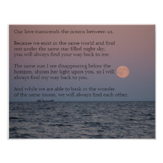 Long Distance Relationship Love Poetry Poster