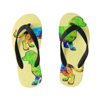 Long Dogs Colorful Dachshund Kid's Flip Flops